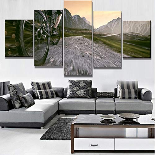 SLFWCLH 5 Pictures Ride Bike Poster Modern Decorative 5 Piece HD Print Paintings on Canvas Wall Art for Home Decorations Wall Decor No Frame