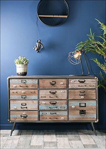 Whaleycorn rétro style industriel Buffet en métal en bois Bleu Commode Armoire tiroirs de rangement Table console
