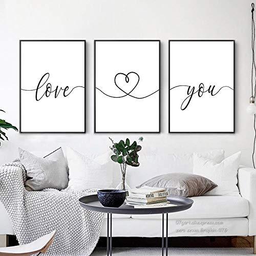 Czarno-białe zwroty miłosne obraz na płótnie plakaty i druki salon sypialnia obrazy na ścianę dekoracje do domu   40x60cmx3 bez ramki
