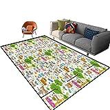 Alfombra rectangular para interiores y niños, 3 x 5 pies, Happy Jungle Zoo Animales con parte trasera antideslizante para entrada, sala de estar, dormitorio, guardería, sofá, decoración del hogar