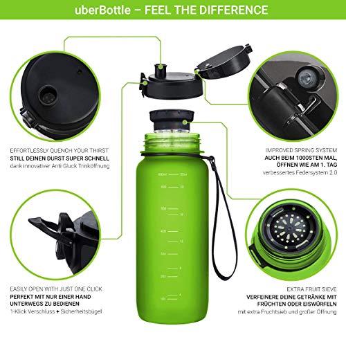 """720°DGREE Trinkflasche """"uberBottle"""" – 650 ml, 0,65 l, Grün, Gruen   Neuartige Tritan Wasser-Flasche   Water Bottle BPA Frei   Ideale Sportflasche für Kinder, Fitness, Fahrrad, Sport, Fussball - 2"""