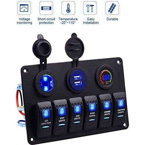 ZDZHU 6 Gang Rocker Switch Panel, Marine Boot USB Steckdose Panel Rocker Switches Wasserdicht, Mit Digital Voltmeter Display Dual USB Ladegerät Port, Für RV/Marine/Auto