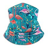 Yuanmeiju Pañuelo para la cabeza, Lovers Flamingo Black Neck Scarf Cool For Ride Headwear Protector facial 26x30cm