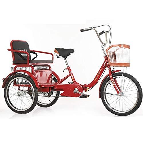 ZFF Triciclo para Adultos 20 Pulgadas Tres Ruedas Bicicleta Velocidad Única Crucero De Carga con Cesta Y Asiento Trasero por Hombres Mujeres Compras Ejercicio (Color : Red)