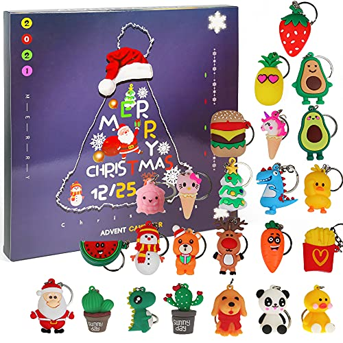 Ogrmar Christmas 2021 Advent Calendar for Kids Holiday Countdown Calendar with 24 Pcs Micro Lovely Silicone Doll Key Ring Christmas for Children