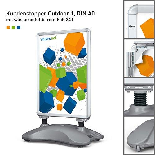Plakatständer DIN A0   ✓Kundenstopper   ✓ Werbetafel   ✓ Gehwegaufsteller Outdoor 1 (mit Wasserfuß und Stahlfedern)