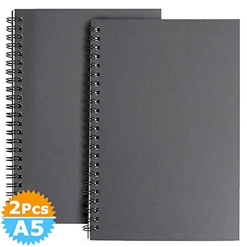 A5 Skizzenbuch mit Spiralbindung 2 Stück, Schwarzem Kraft Cover Blanko Skizzenblock,100 Blatt / 50 Weiße Säurefreies Zeichenpapie Perfekt für Reisen Memos, Malen und Graffiti