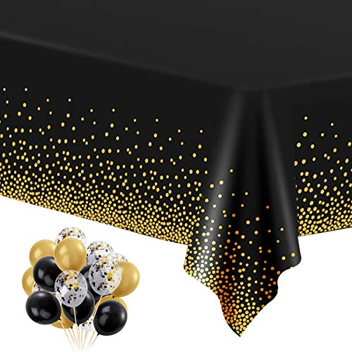 6 Pack Black and Gold Plastic Tablecloths for Rectangle Tables, Disposable Party Gold Dot Confetti Table Covers with 30 Balloons for Birthday, Graduation, Cocktail Parties, 54' x 108'