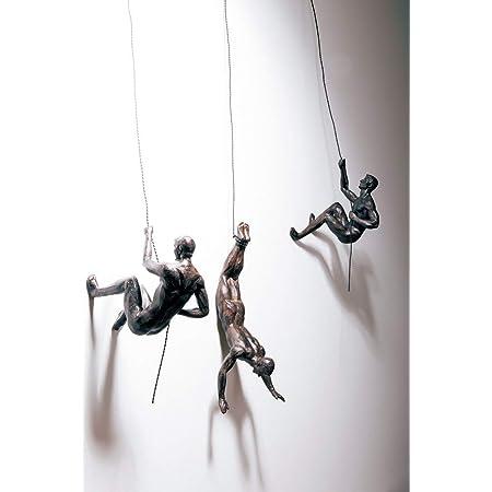 Haute Collage 3X Bronce Escalada Rapel Hombres Trío Adornos Colgantes Figuras Conjunto de Tres escaladores