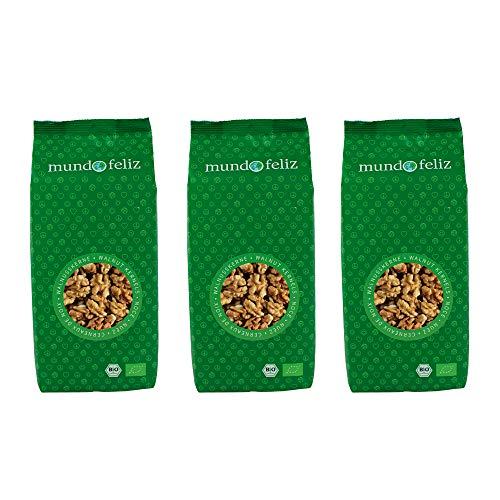 Mundo Feliz - Lot de 3sachets de cerneaux de noix bio, 3x300g