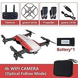 Metermall Quadricoptère Pliable RC Drone x Pro 5G Selfie WiFi FPV avec 4K HD Double caméra Paquet de Batterie Simple Rouge 4K