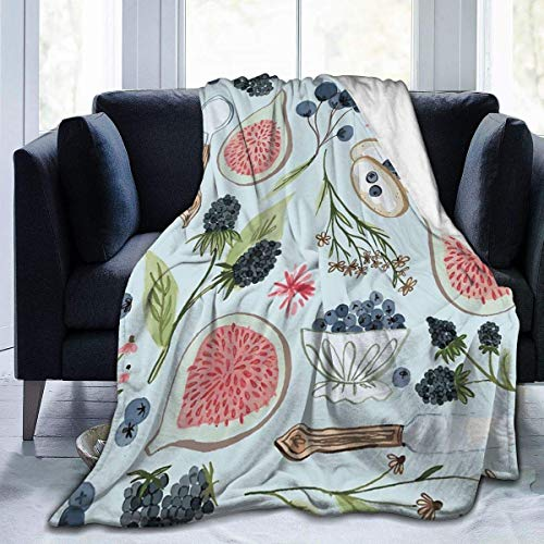 "Clothing decoration Fleece Blanket 50"" x 60""- Blueberry Breakfast Home Flannel Fleece Soft Warm Plush Throw Blanket for Bed/Couch/Sofa/Office/Camping"