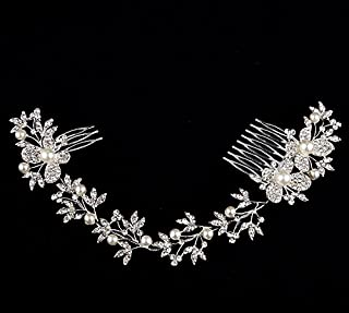 Carinloing Crystal Diamond Bridal Wedding Hair Pearls Rhinestone Headdress Headband Tiara Eyebrow Fall Forehead Chain