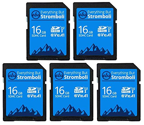 Everything But Stromboli 16GB SD Card (5 Pack) Speed Class 10 UHS-1 U1 C10 16G SDHC Memory Cards for Compatible Digital Cameras, Computer, Trail Cams