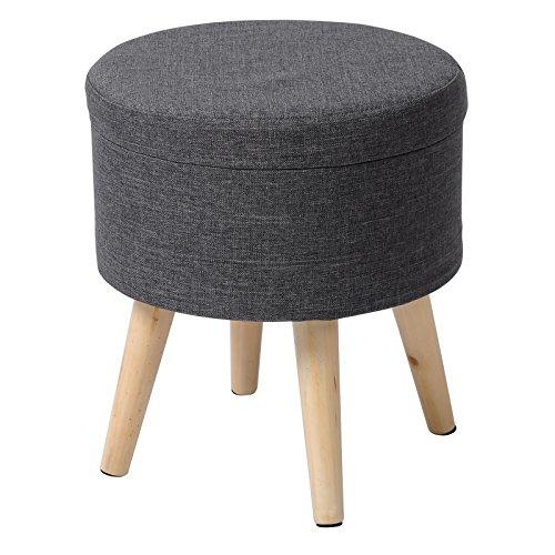 eSituro SOM0008 Sitzhocker Fußhocker Sitzbank Sitzwürfel Aufbewahrungsbox mit Stauraum Deckel Abnehmbar Leinen Dunkelgrau