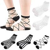Sheer Mesh Transparent Socks Women - Lace Ultrathin Fishnet See Through Ankle Sock Mesh Black White