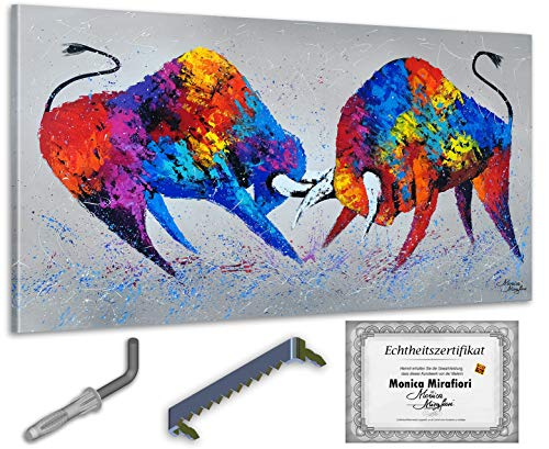 exclusive-gallery I Monica Mirafiori I Gemälde Stiere I 140x70cm | XXL Leinwandbild handgemalt | Acrylgemälde auf Leinwand | Sehr großes Acrylbild auf Keilrahmen