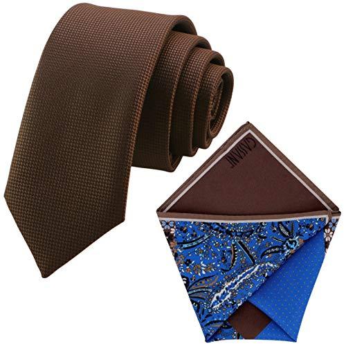 GASSANI 6cm Breite, Braune Schmale Herrenkrawatte Strukturiert Extra-Lang, Krawatten-Set, Herrenschlips Dünn Einstecktuch Bunt 4 Verschiedene Designs