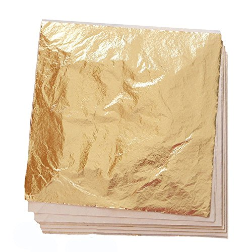KUUQA 100 Sheets Rose Gold Imitation Leaf for Gilding Crafting,Arts Project Crafting Decoration 14x14cm