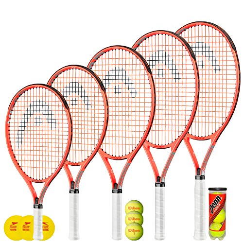 """Raqueta de Tenis HEAD Radical Junior + 3 Pelotas de Tenis (Varias Opciones de Pelotas) 19 """", 21"""", 23 """", 25"""" y 26 """" (26"""" + 3 Penn Tennis Balls)"""