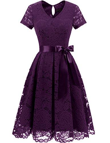 DRESSTELLS Damen Elegant Abendkleider für Hochzeit Herzform Spitzenkleid Cocktail Party Floral Kleid Grape L