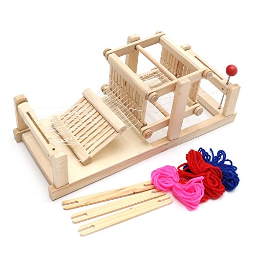 KINGSO Loom Wooden Table Weaving Toy with Accessories Hand Craft Toy for Kids