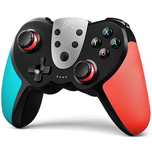 TERIOS Wireless Pro Controller for Switch – Premium Joypad for Video Games – Remote Joystick for Gamers – 3 Levels of Turbo Speed – NFC Technology–Adjustable Vibration Intensity (Blue & Red)