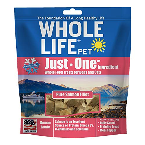 Whole Life Pet Healthy Cat and Dog Treats Value Pack, Human-Grade Wild-Caught Salmon, Protein Rich for Training, Picky Eaters, Digestion, Weight Control, Made in the USA, 8 Ounce