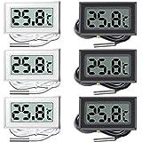 liuer 6PCS Digital LCD Termómetro Medidor de Temperatura del termómetro del Acuario con Sonda para Refrigerador Frigorífico Congelador Acuario Marino del Vivero Casa de Cría(Blanco y Negro)