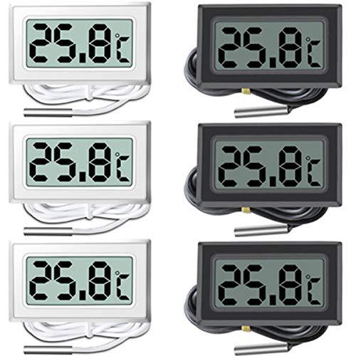 liuer 6PCS Digitales Thermometer Aquarium LCD Bildschirm Digitalthermometer Aquarium mit Sonde für Aquarium,Terrarium,Kühl- und Gefrierschrank,Reptil Schildkröten Lebensräume(Schwarz + Weiß)
