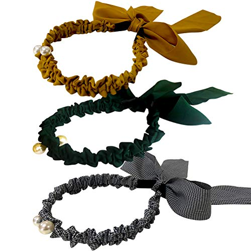 Jseng 3PC Retro Silk scarf headbands Sweet Faux Pearl Elastic Hair hoops Long Ribbon Ponytail Hairband for Elegant Women and Girls