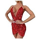 Vestido de lentejuelas para mujer, sexy, vestido de fiesta, vestido brillante, espalda descubierta, escote en V, elegante, vestido corto de noche (S, rojo)