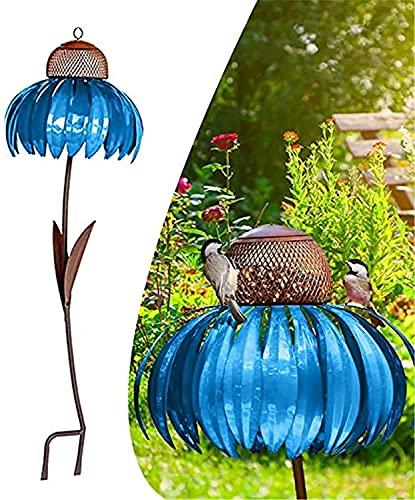 Comedero para Pájaros Metal crisantemo de pie Alimentador de aves fuera de la óxida Rust resistente al jardín Arte de metal Birdfeeder con soporte Jardín Art Flower Pájaro Alimentador para jar