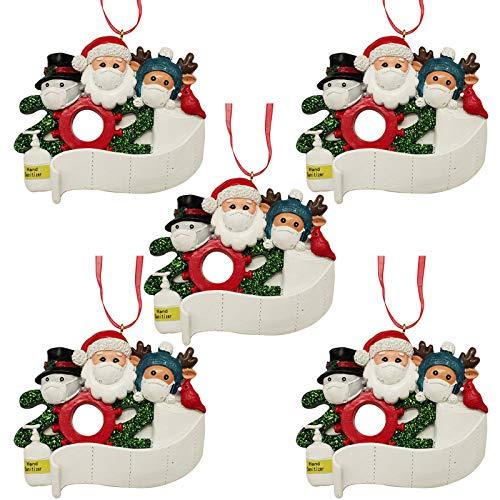 TcooLPE 2020 Decoration Christmas Party - Babbo Natale con la Mascherina di Natale Pendente Albero Fai da Te Regalo Creativo, 5pcs