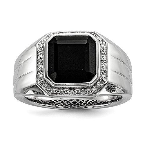 Plata de Ley 925negro Onyx y Diamante Anillo de compromiso para hombres