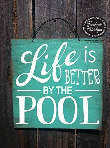 BridgetWhy50 Pool-Schild, Pool-Dekoration, Pool-Dekoration, Schwimmbecken, Hinterhof, Dekoration, Schwimmbad, Better by Pool