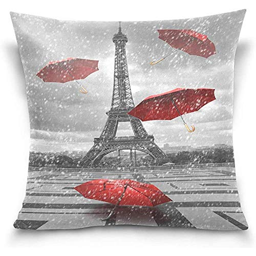 N/Q Throw Pillow Cover, Vintage Eiffel Tower Paris Red Umbrella Fundas de Almohada Decorativas Funda de cojín
