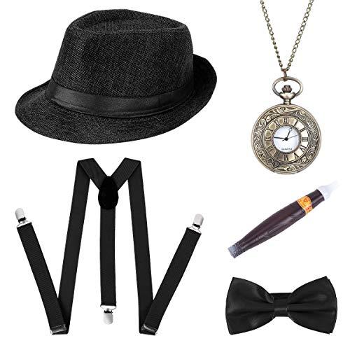 BOER 1920s Herren Accessoires - Gatsby Kostümzubehör Set Mit Panama Gangster Hut Verstellbar Y-Back-Hosenträger Fliege Halsschleife Taschenuhr Und Plastik-Zigarre (Schwarz)