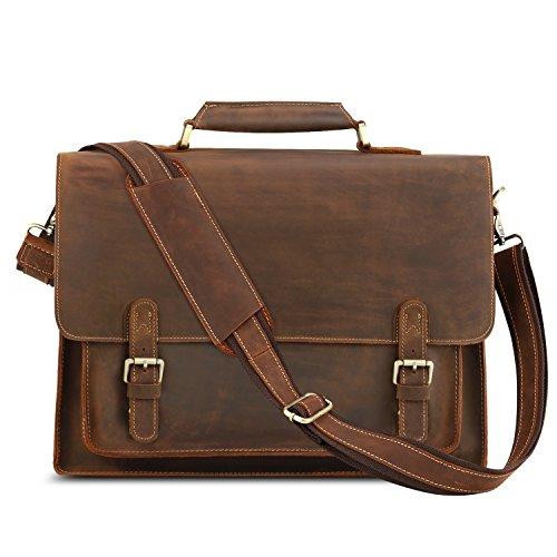Kattee Leather Briefcase 15 inch Laptop Tote Bag Messenger Bag Shoulder Bag for Men Brown