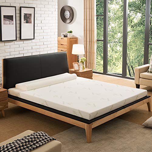 NOFFA Memory Foam Mattress Topper with Cover, Includes Ultra Soft Removable Cover with Adjustable Straps (140 x 190 cm)