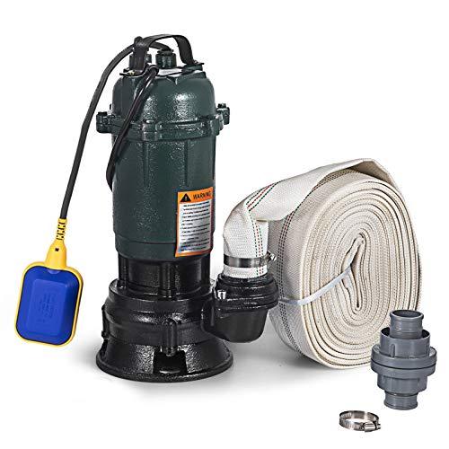 BuoQua Elektrische Tauchpumpe Haushaltsabwasserpumpe Hochdruck-Tauchpumpe für Brunnen (Tauchpumpe mit Rohr 20m)