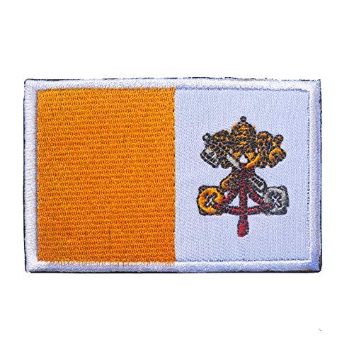 Aufnäher mit Vatikanstadt-Nationalflagge, bestickt, zum Aufbügeln oder Aufnähen – Emblem, taktisch, Militär, Moral, lustige Aufnäher, Applikationen mit Klettverschluss