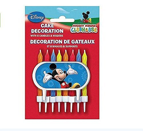 Disney Mickey Mouse Clubhouse Cake Decoration - 8 Candles and Holders
