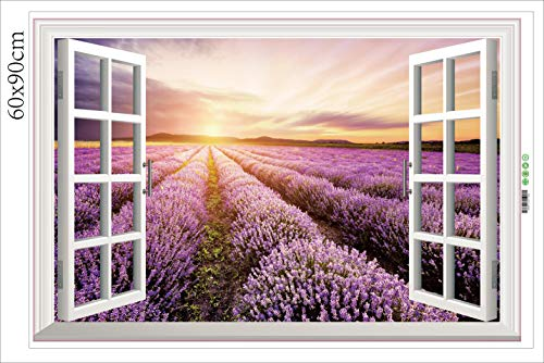 HALLOBO® XXL Wandtattoo Wandaufkleber Fenster Lavendel Wohnzimmer Schlafzimmer Küche Sticker Wand Bild Wand Aufkleber Deko Korridor Esszimmer