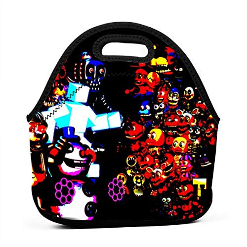 Durable Neoprene Lunch Bags for Beach - Drawing A Fnaf Cool Colorful Background Lightweight, Insulated And Reusable for Women & Kids & Men Lunch Box Bag, Thermal Bags for Cold And Hot Food