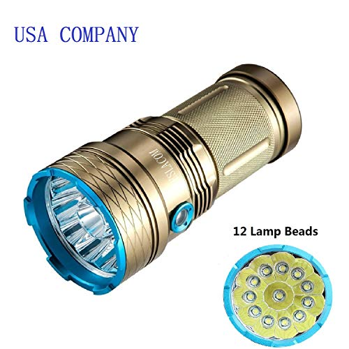 TESLACOM Tactical Flashlight, Flashlights High Lumens, Brightest 12x CREE LED Large Portable Torch, IP65 Water Resistant, 3 lighting Modes, w/Battery-Protection Technology,for Camping and Hiking