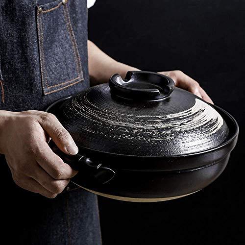 Cazuela Olla de barro Olla caliente, Cazuela de cerámica resistente al calor con tapa, Olla de cocción lenta, Cacerola redonda, Olla de sopa, Olla de cocción sin aceite Cazuela de olla (Colo