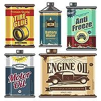 車のバンパーデカール ビンテージコレクション古いモーターエンジンタンクアンチフリーズタイヤ接着剤ボトルレトロベクトルデザイン車PVCステッカーデカール (Color Name : Beige, Size : 35CM)