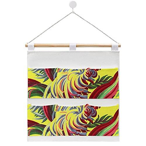 Vintage Bird Tropical Flowers Florida Hawaii Decor Cotton and linen storage bag Fabric Wall Door Hanging Organizer Hanging 6 Pockets