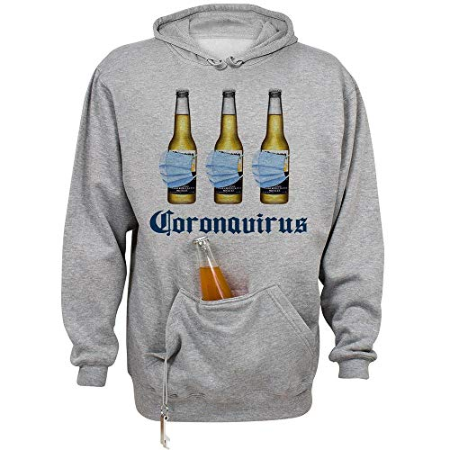 Beer Mask Virus Funny Beer Drinking Beer Holder Tailgate Hoodie Sweatshirt Unisex Large Oxford
